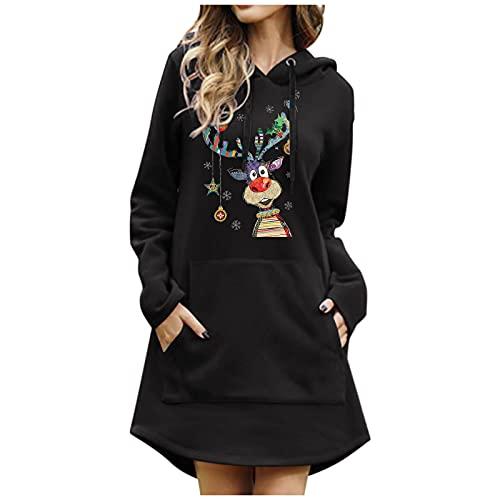 URIBAKY - Sudadera de manga larga para mujer con estampado de color liso, bolsillo con capucha, manga larga, sudadera con capucha, C-le negro, M