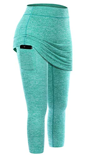Kimmery Skirt for Leggings,Women Light Weight Workout Patchwork Skirted with Pocket Fall Outdoor Compression Sports Exercise Active-wear Tennis Capri Pants Green M