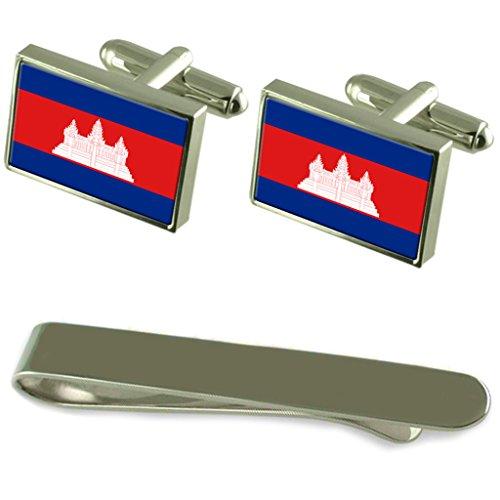 Select Gifts Kambodscha Fahne Silber Manschettenknöpfe Krawatten Clip Box Set