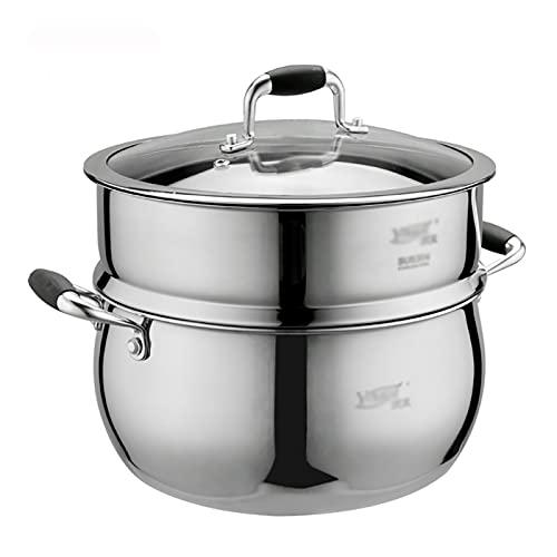 Utensilios de cocina al vapor Stock Pot-Steamer, 18-10 acero inoxidable espesado olla de sopa/olla de cocción con rejilla de vapor (24 cm), para cocina de gas/cocina de inducción Charola para horn