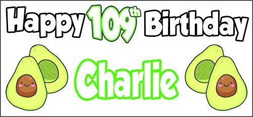 Cartel personalizable con temática de aguacate 109 cumpleaños – Póster – Decoración de fiesta – Hijo – Abuelo – Papá – Hombre – Hija – Nan – Mamá – Señoras – Cualquier nombre (paquete de 2)