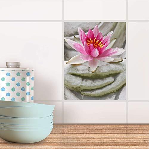 creatisto Fliesensticker für Bad und Küche I Fliesen-Aufkleber Folie wiederablösbar I Fliesen verschönern - Fliesenverkleidung für Bad- und Küchenfliesen I Design: Flower Buddha