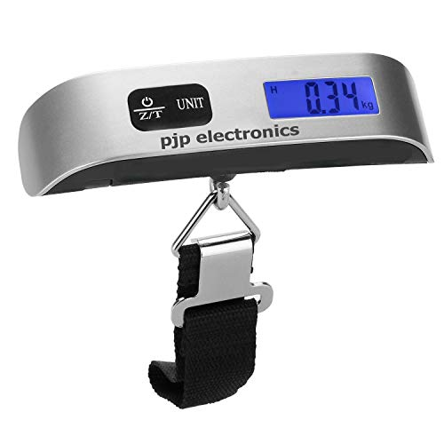 Pjp Electronics Travel Luggage Scale, Digital Luggage Weighing Scales for Suitcase with Temperature Reading 50 Kg Capacity (Silver)