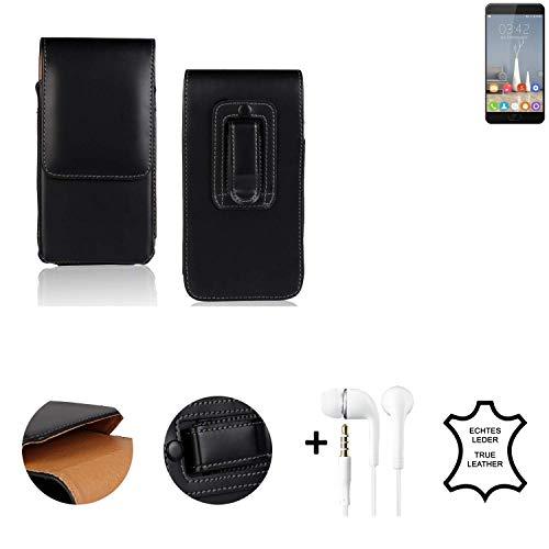 K-S-Trade® Leder Gürtel Tasche + Kopfhörer Für Oukitel K6000 Plus Seitentasche Belt Pouch Handy-Hülle Gürteltasche Schutz-Hülle Etui Schwarz 1x