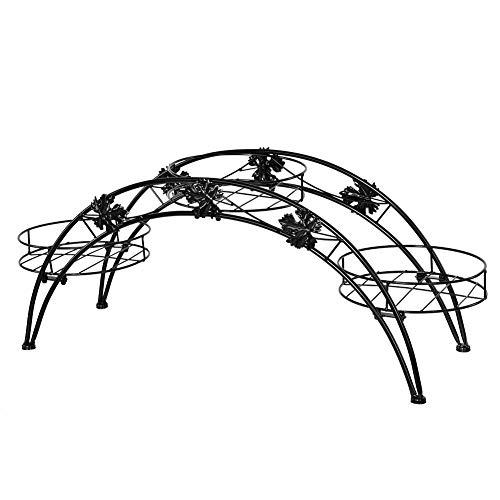GOTOTO Regal Blumentopf Pflanzentopf Tür aus Eisen Metallbogen für Pflanzen, Dekoration Haus Garten Balkon Terrasse Schwarz