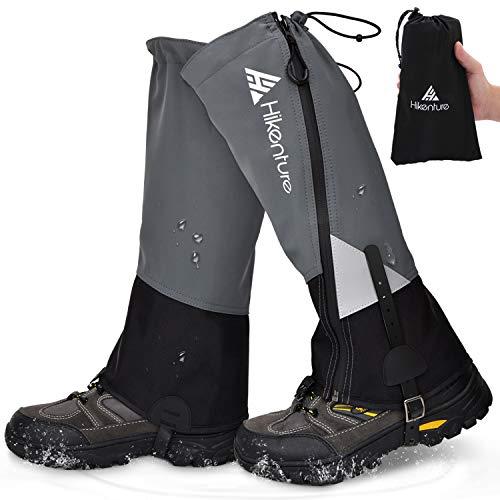 Hikenture Leg Gaiters with Waterproof Zipper, Anti-Tear Water-Resistant Hiking Gaiters, Breathable Shoe Gaiters for Men & Women, Adjustable Snow Boot Gaiters for Hiking, Hunting, Skiing, Running