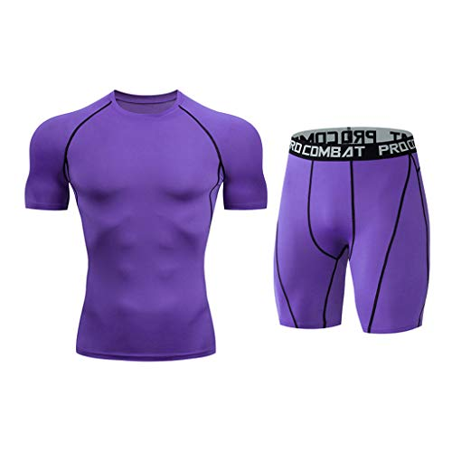 UINGKID Herren Short-Jogginganzug Shortanzug Sportanzug schnell trocknend elastische Kurzarm Kurze Hosen Sportanzug