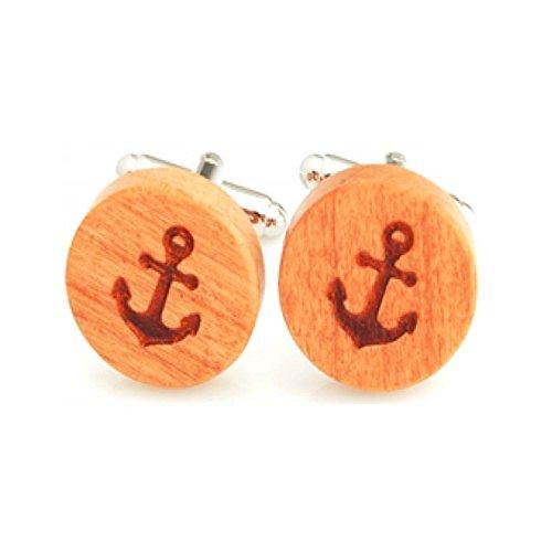 Procuffs Boutons de manchette en bois en forme d'ancre bateau nautique bateau de croisière natation.