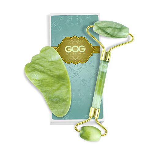 GOGALLJUG Jade Roller and Gua Sha,100% Natural Jade Facial Body Eyes Neck Massager Tool Reduce Wrinkles Aging