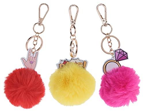 MIJOMA 3-TLG Set Schlüsselanhänger mit Pompom aus flauschigem Kunstfell Ball Schlüsselbund-Accessoires Autoschlüssel Handtasche Charme-Anhänger rot-gelb-pink
