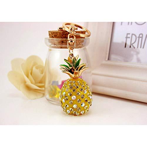 ERDING sleutelhanger, sleutelhangers, tropisch fruit ananas kristal sleutelhangers portemonnee tas t voor auto sleutelhangers hoogwaardige gift sleutelhangers houder