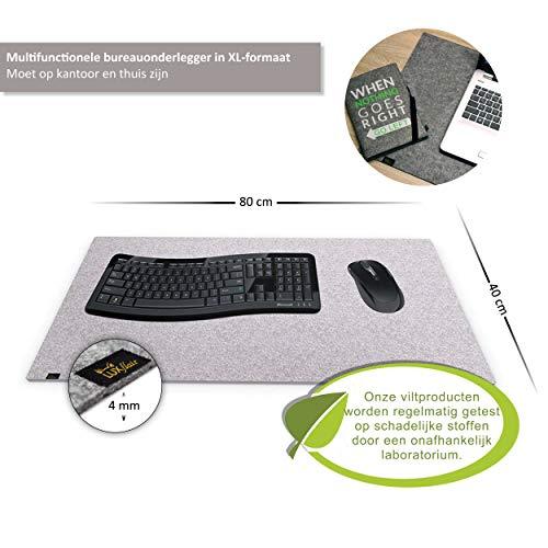 Designer Filz Schreibtischunterlage graumeliert in XXL (ca. 40x80cm groß). Originelle Schreibunterlage - besonders weich und komfortabel. Die Alternative zur Papier- oder Leder Schreibtischunterlage