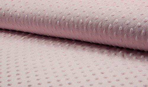 Tissu en peluche super doux à pois - 150 cm de large - 7 couleurs au choix (vendu au mètre) (Rose layette)