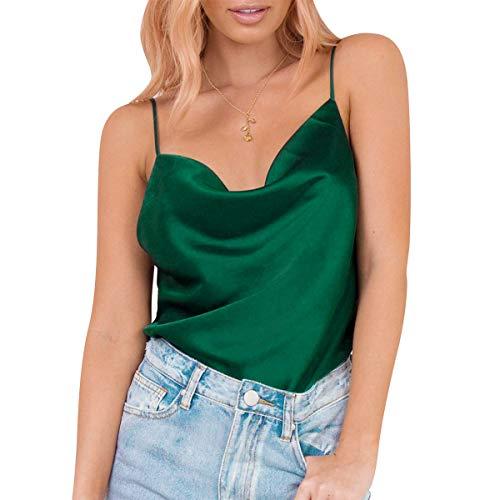 Sexy Frauen Seide Top Spaghettihemd V-Ausschnitt Vest Shirt Sommer Lässig Party Träger Camisole Oberteil Satin Bluse für Elegante Frauen (Grün, L)