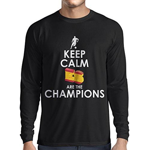 Camiseta de Manga Larga para Hombre Españoles Son los campeones, Campeonato de Rusia 2018, Copa del Mundo - Equipo del fútbol de Camisa del admirador de España (X-Large Negro Multicolor)