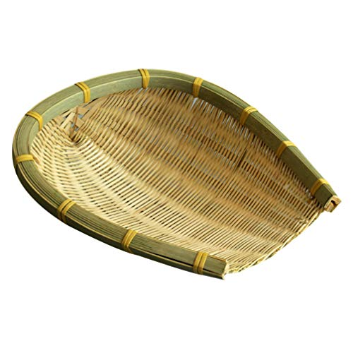Cabilock Colador de bambú hecho a mano, bandeja de bambú, cesta de mimbre, cesta de bambú, colador de pasta, cesta de drenaje para frutas, verduras, pasta de bambú, cesta decorativa de cocina