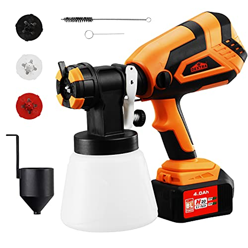 DEXTRA 20V Cordless Paint Sprayer,HVLP Spray Gun with 4.0Ah Battery,Fast Charger,Home Electric Spray Gun with 3 Spray Patterns,3 Nozzle Easy Spraying and Cleaning for Fence Cabinet Furniture Ourdoor