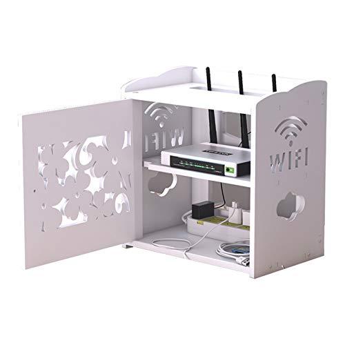 Dekorative WiFi Aufbewahrungsboxen Regal, Schwimmende Regal Lagerung Box Halterung Halter Ständer Zum WLAN Router Fernseher Einstellen,Weiß