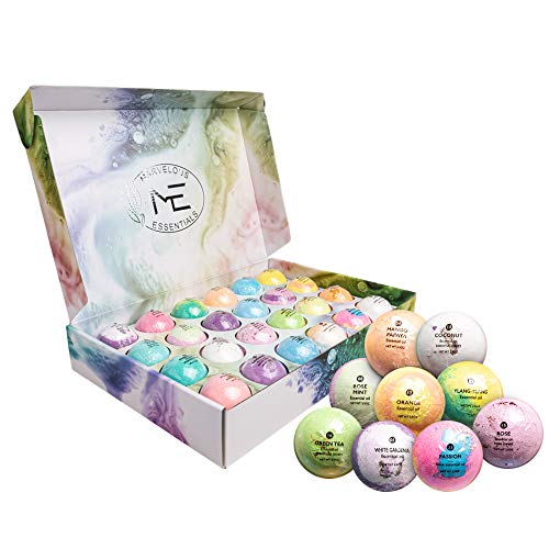 Marvelous Essentials Bath Bomb Gift Set for Women | 24 Aromatherapy BathBombs Crafted from Pure Essential Oils | Fizzy Spa Relaxing Bubble Bath Bombs Make a Great Gift Idea for Women & Kids