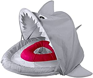 SwimSchool Sparky-The-Shark Fabric Baby Pool Float, Splash & Play Activity Center, Dual Air Pillow Chambers with Retractable Canopy and Safety Seat, Baby Float, UPF 50, 6 To 24 Months, Gray
