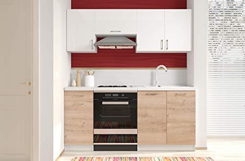 Cucina Componibile Completa da Incasso con Mobili Base e Mobili Pensili Sospesi Cucinino Moderno in Legno Laminato da 180 Cm (Bianco Lucido Laccato E Rovere)