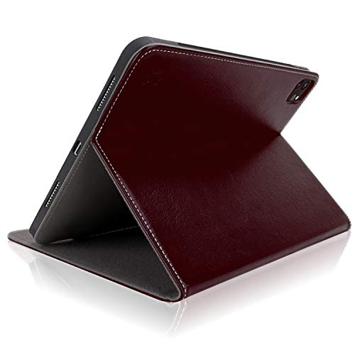 iPad Pro 12.9 Case 2020 4th Generation - Cuvr Genuine Leather Cover with Secure Any-Angle Stand and Safe Apple Pencil Holder for iPad Pro 12.9 inch 2020 (Oxblood)