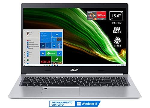Acer Aspire 5 A515-45-R2J2 PC Portatile, Notebook, AMD Ryzen 7 5700U, RAM 8 GB DDR4, 512 GB PCIe NVMe SSD, Display 15.6' FHD IPS LED LCD, AMD Radeon, USB Type-C, Win 10 Home, Spessore 17.9 mm, Silver