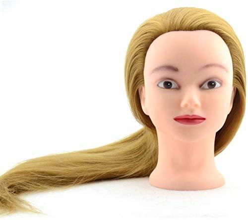 ZHJING Professionelle Chemiefaser-Perücke, Modellkopf, Übungskopf, Barbier Shop, zum Lernen von goldenem Haar, für Braut-Make-up, Styling-Übungskopf, 3 Stück