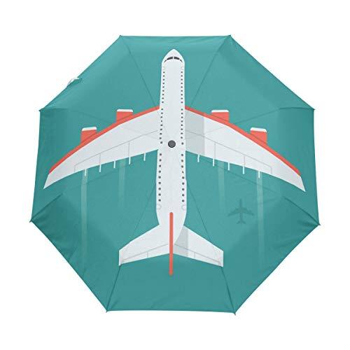 Orediy Automatischer Faltbarer Regenschirm Flugzeug im winddichtem Reise-kompakt tragbar Sonnenregen UV-beständiger Regenschirm