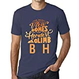 One in the City Hombre Camiseta Vintage T-Shirt Gráfico Best Views Mountains B&H Azul Oscuro