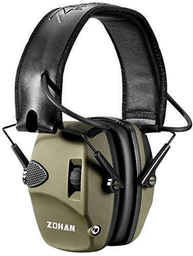 ZOHAN EM054 Electronic Shooting Ear Protection Muffs, Sound Amplification Noise Reduction Shooting Earmuffs for Gun Range, Ideal for Hunting and Shooting - Army Green