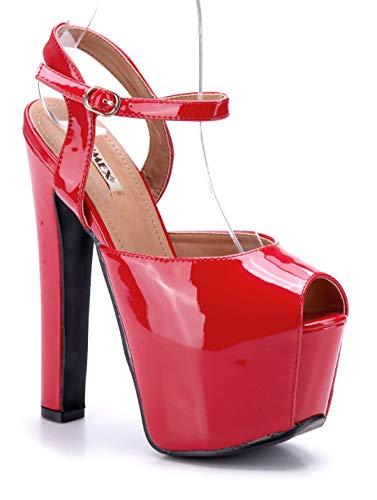 Schuhtempel24 Damen Schuhe Plateausandaletten Sandalen Sandaletten rot Blockabsatz 17 cm High Heels
