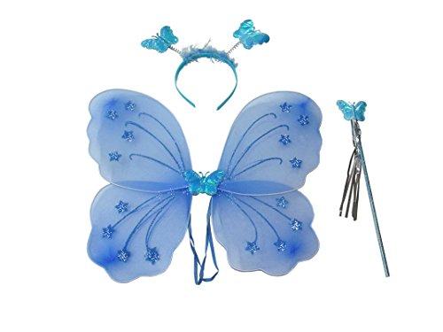 Costume da fata con le ali, cerchietto e bacchetta magica