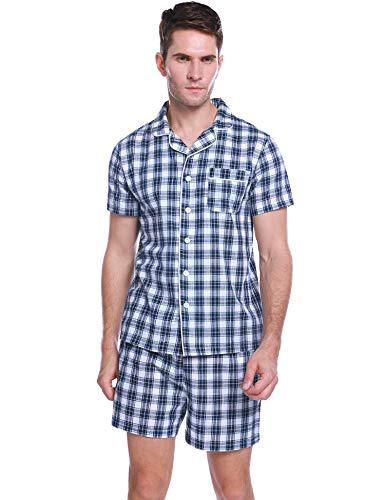 Hawiton Herren Schlafanzug Kurz Sommer Kariert Nachtwäsche Pyjama Shorts Schlafoberteil mit Kragen Knöpfeleiste Blau M