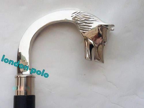Asmara Gehstock mit Wolfskopf, versilbert, Vintage-Stil, Messing