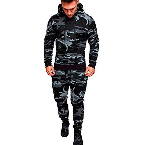OtoñO Invierno De Manga Larga Camuflaje Gris Sudadera Hombres Mejor Venta Pantalones Conjuntos de Deportes Traje Fresco Chándal Gris Oscuro XL