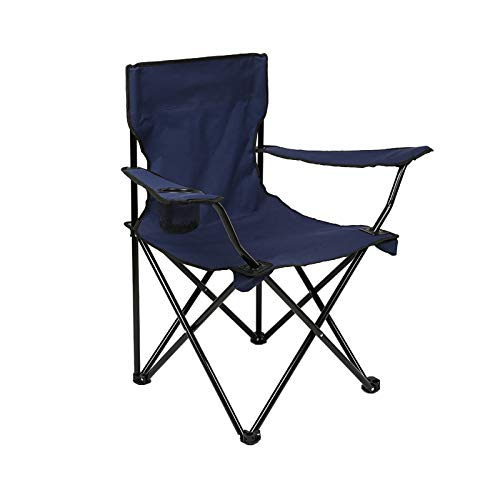 DIMAR GAEDEN Camping Folding Chair with Arm Rest Cup Holder, Outdoor Sports, Picnic, Hiking and Fishing, Portable and Durable, Heavy Duty Steel Frame Support (Navy Blue)