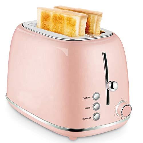 PLEASUR Tostadora de Pan Prestige para Hornear para el hogar, tostadora Larga de 2 rebanadas, Rosa
