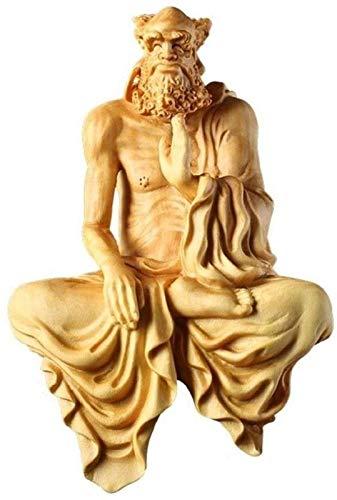 MWKL 1 peça de estátua de buda do dharma taoísmo, ornamentos de escultura de buda de madeira maciça, estatueta de Buda Feng Shui para casa/escritório/sala de estar