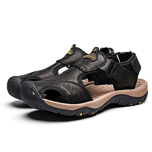 KJHKT Sandalias transpirables de cuero con puntera cerrada, para hombre, atlética, senderismo, pescador, caminar, correa para caminar, sandalias ajustables al aire libre