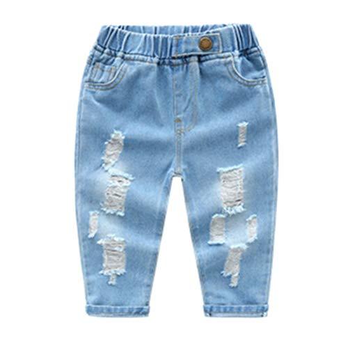 SISAVE Little Baby Boys Girls Elastic Waist Ripped Denim Pants Jeans (Light Blue, 3-6 Months)