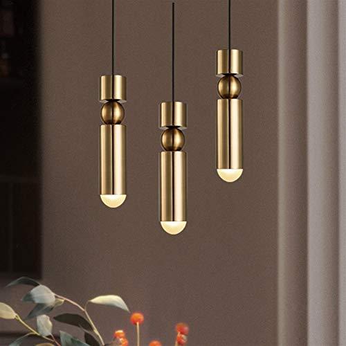 XINXI-YW Duradera Single Head Nordic Hanging Lamp Bar Cocina Dormitorio 90-260v Postmodern Lámparas de Metal chapadas en Oro G9 Seguro (Body Color : Gold, Emitting Color : Cold White)