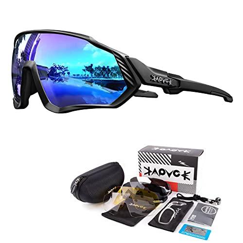 KAPVOE Polarisierte Sonnenbrille für Fahrrad, MTB, 5 austauschbare Gläser, für Herren und Damen, Vollbild, UV-Schutz 400, ultraleicht, TR90, zum Laufen, Angeln, Fahrradfahren und Sport 05