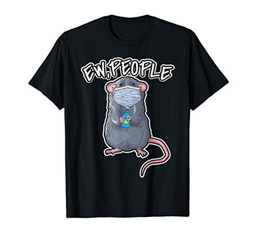 Lustiges Ew People Top mit Ratte die Maske trägt Farbratten T-Shirt