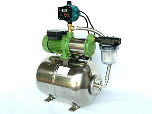 Waterpomp met voorfilter 50 of 100 liter met centrifugaalpomp (HMC 145-4SH) vermogen 1100 Watt INOX (roestvrij staal) debiet: 9000l/h - 150l/h - schepwielen roestvrij staal/INOX - roestvrijstalen as, opvoerhoogte: 55 m, max. druk 5bar + pompbesturing DSK-18 droogloopbeveiliging. 100 Liter INOX