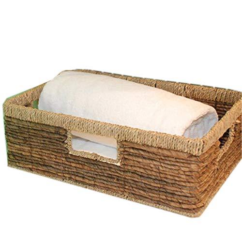 XLY Shelf Baskets Vintage Straw Tray Basket, Coffee Table Snack Cabinet Drawer Basket Woven Basket Water Hyacinth Shelf Storage Storage B,1