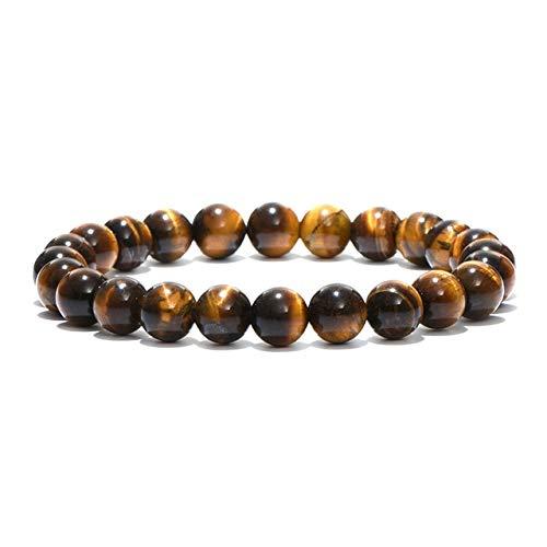 XIAOYAN Pulsera de Buda con Cuentas de Piedra Natural, Brazalete de meditación de Yoga con Ojos de Tigre marrón para Hombres y Mujeres, joyería de Mano para Hombre, Unisex