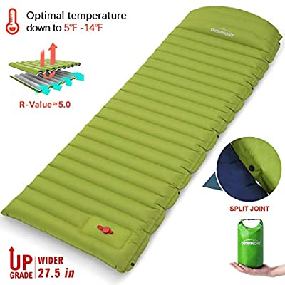 Overmont Sleeping Pad Inflatable Extra Thickness Camping Tent Mattress Pad Waterproof for Sleeping Comfortable Compact Air Mat for Backpacking Travel Hiking Built in Pump (Grass Green, Upgrade)