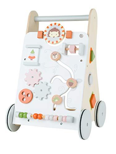 Bieco Lauflernwagen Holz | ab 1 Jahr | Multifunktionale Baby Lauflernhilfe | Laufwagen für Babys zur Förderung der Motorik | Baby Gehhilfe mit Gummibereifung | Activity Lauflernhilfe für Babys