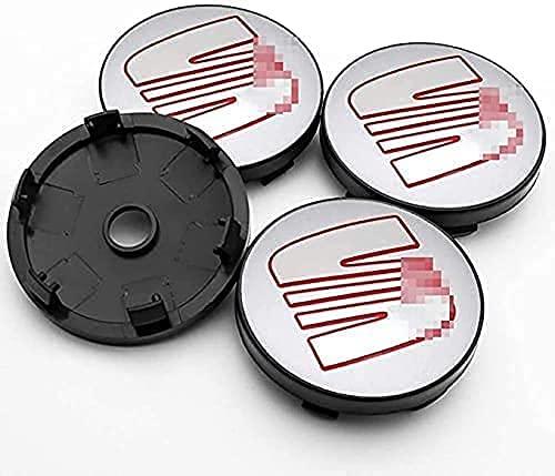 4 Piezas Tapacubos, para SEAT Minimo Ibiza Leon Exeo Toledo Altea MII TBL IBX, Impermeable Antióxido Decoración Accesorios Tapas Centro Rueda, Modificadas Hub Caps con Emblema, 60mm